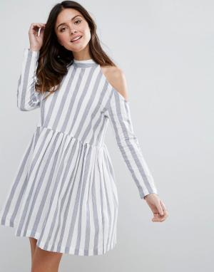 ASOS Хлопковое свободное платье в полоску. Цвет: мульти