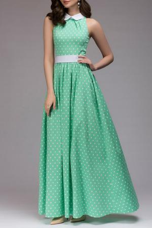 Длинное платье в горошек 1001dress. Цвет: мятный, принт горох