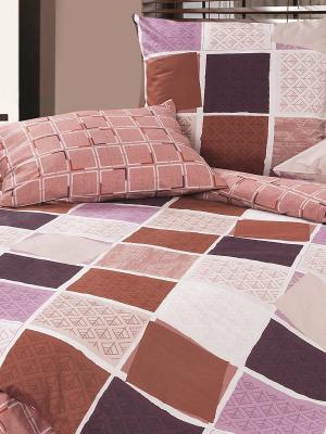 Комплект постельного белья Булонский лес ECOTEX. Цвет: бежевый, лиловый
