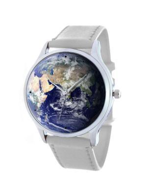 Дизайнерские часы Земля Tina Bolotina. Цвет: темно-синий, белый