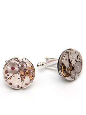 Запонки часовые механизмы 4 Churchill accessories. Цвет: серебристый