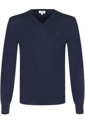 Пуловер из шерсти тонкой вязки Brioni. Цвет: темно-синий