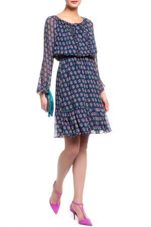 Платье DIANE VON FURSTENBERG. Цвет: темно-синий, принт красный лот