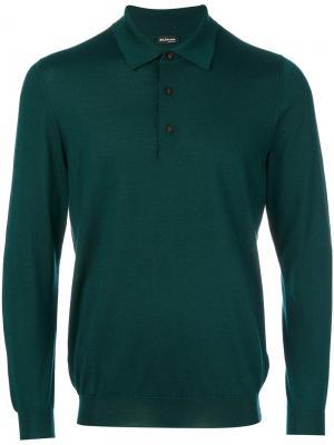 Трикотажная рубашка-поло Kiton. Цвет: зелёный
