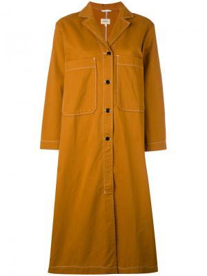Платье-рубашка с накладными карманами Bellerose. Цвет: жёлтый и оранжевый