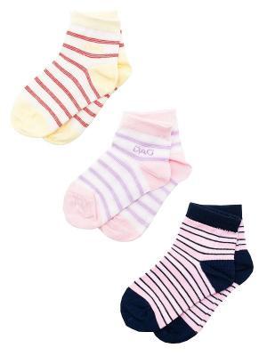 Носки Детские,комплект 3 пары DAG. Цвет: синий, желтый, сиреневый