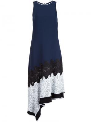 Платье с контрастным подолом Jonathan Simkhai. Цвет: синий