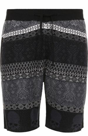 Льняные шорты свободного кроя с принтом Gemma. H. Цвет: черный