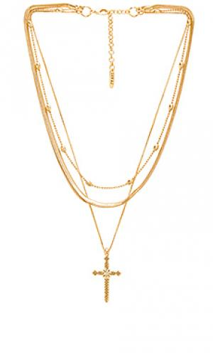 Ярусное ожерелье с подвесом крестик Luv AJ. Цвет: металлический золотой