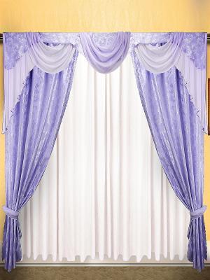 Комплект штор ZLATA KORUNKA. Цвет: сиреневый, белый