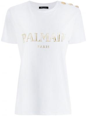 Logo printed T Shirt Balmain. Цвет: белый