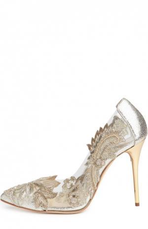 Кожаные туфли Alyssa с вышивкой Oscar de la Renta. Цвет: золотой