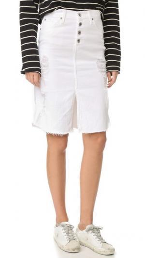 Юбка с разрезом спереди Lana James Jeans. Цвет: белый потрепанный