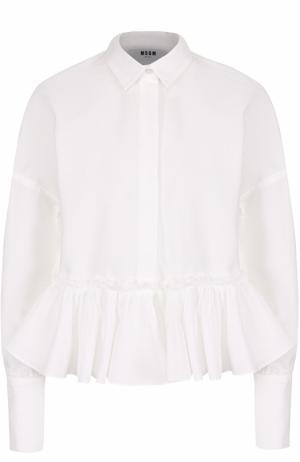 Хлопковая блуза со спущенными рукавами и оборкой MSGM. Цвет: белый