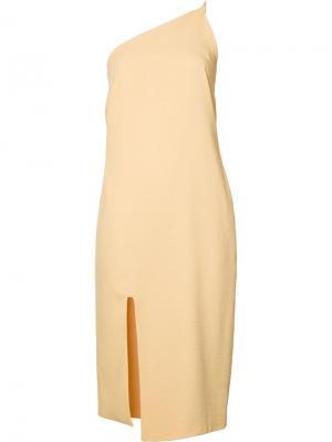 Платье на одно плечо Nomia. Цвет: жёлтый и оранжевый