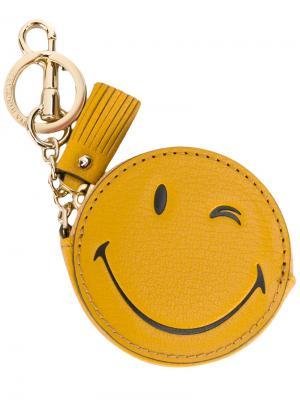 Кошелек для мелочи на брелке Wink Anya Hindmarch. Цвет: жёлтый и оранжевый