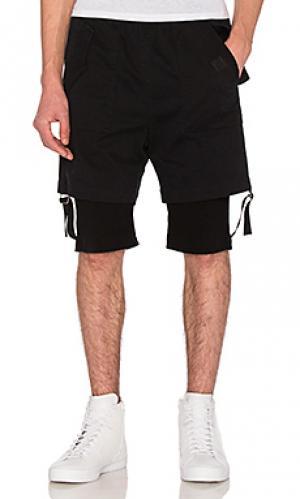 Двуслойные шорты Helmut Lang. Цвет: черный