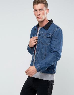 Another Influence Джинсовая куртка с отделкой из овечьей шерсти на воротнике Inf. Цвет: синий