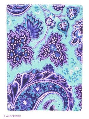 Обложка для паспорта Голубой принт Mitya Veselkov. Цвет: бирюзовый, сиреневый
