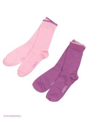 Носки 2 пары Janus. Цвет: розовый