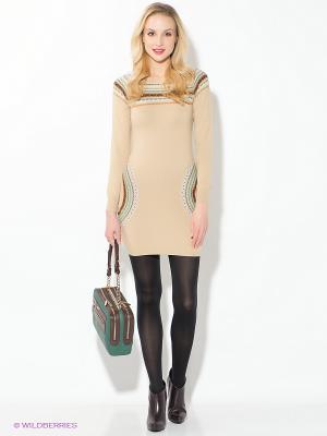 Платье Oodji. Цвет: бежевый, бирюзовый, коричневый