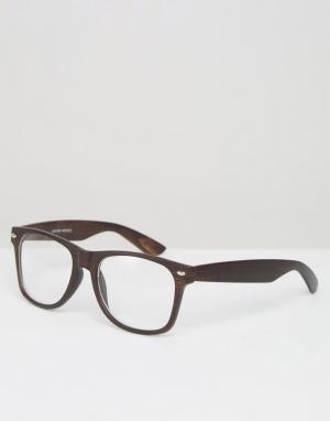 Jeepers Peepers Очки в темно-коричневой оправе с прозрачными стеклами. Цвет: коричневый