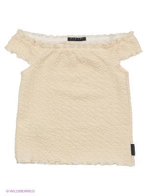 Блузка Sisley Young. Цвет: персиковый, кремовый, бледно-розовый
