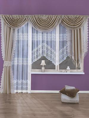 Комплект штор Wisan. Цвет: темно-бежевый, белый