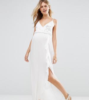 ASOS Maternity Пляжное платье макси для беременных с оборками и запахом Maternit. Цвет: белый