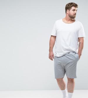 ASOS Трикотажные пижамные шорты с фирменным поясом PLUS. Цвет: серый