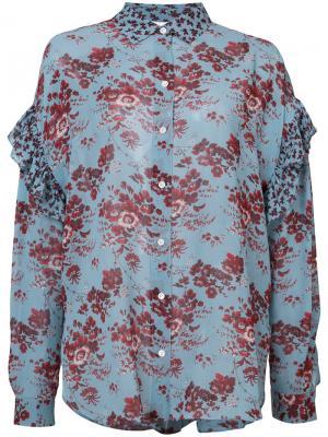 Блузка с цветочным принтом Robert Rodriguez. Цвет: синий