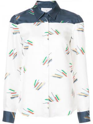 Рубашка с контрастным дизайном Gabriela Hearst. Цвет: белый