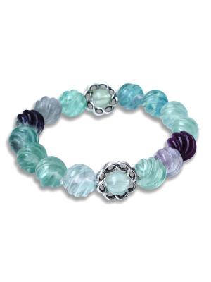Браслет Purple Greenиз резного флюорита Магазин браслетов. Цвет: светло-зеленый, прозрачный, темно-фиолетовый