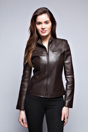 Кожаная куртка Giorgio. Цвет: коричневый
