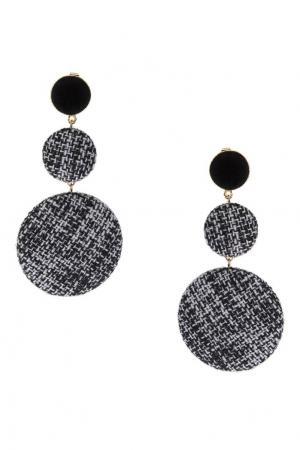 Черно-белые серьги с текстильной отделкой Lisa Smith. Цвет: черный/белый