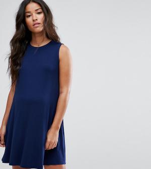 ASOS Maternity Свободное платье для беременных без рукавов. Цвет: темно-синий