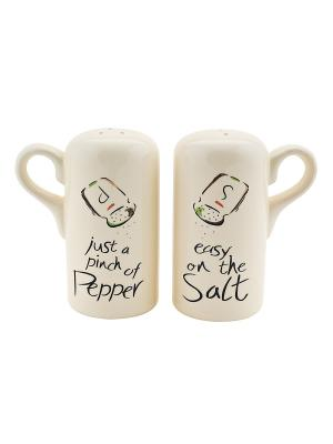Набор солонка и перечница Elff Ceramics. Цвет: бежевый