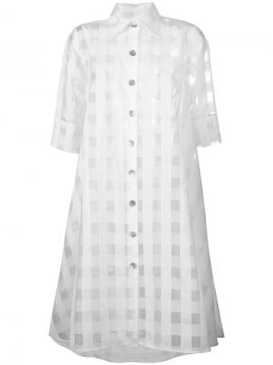 Прозрачное платье-рубашка Ultràchic. Цвет: белый
