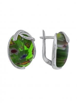 Серебряные серьги KRASNOE. Цвет: серебристый, зеленый
