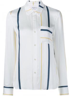Полосатая рубашка с нагрудным карманом Frame Denim. Цвет: белый