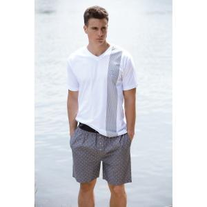 Пижама с шортами принтом DANIEL HECHTER LINGERIE. Цвет: белый + серый меланж
