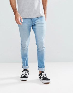 LDN DNM Светлые супероблегающие джинсы цвета индиго. Цвет: синий