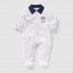 Пижама велюровая с воротником поло, 0 месяцев - 3 года R mini. Цвет: белый,синий морской