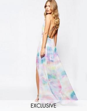 Fame and Partners Платье макси с акварельным принтом Valentina Dream. Цвет: мульти