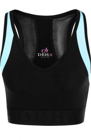 Спортивный кроп-топ с V-образным вырезом Deha. Цвет: голубой