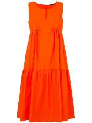 Платье с оборками Odeeh. Цвет: жёлтый и оранжевый