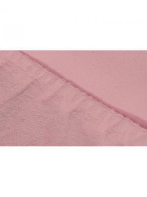 Простыня на резинке махровая 160х200 ECOTEX. Цвет: розовый