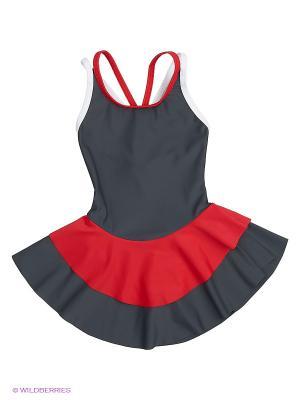 Купальник EMDI. Цвет: серый, красный, белый