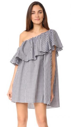 Макси-платье с открытым плечом Maison MLM LABEL. Цвет: черный/белая крупная клетка
