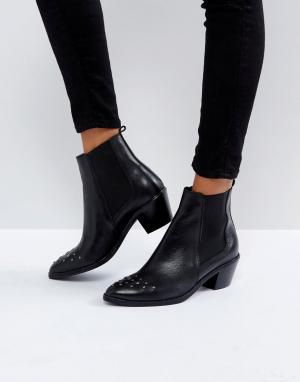 Hudson London Кожаные ботинки с заклепками на носке H by. Цвет: черный
